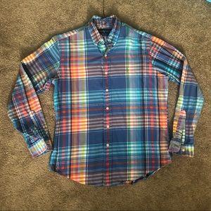 Ralph Lauren Custom Fit Plaid Button Up Sz L
